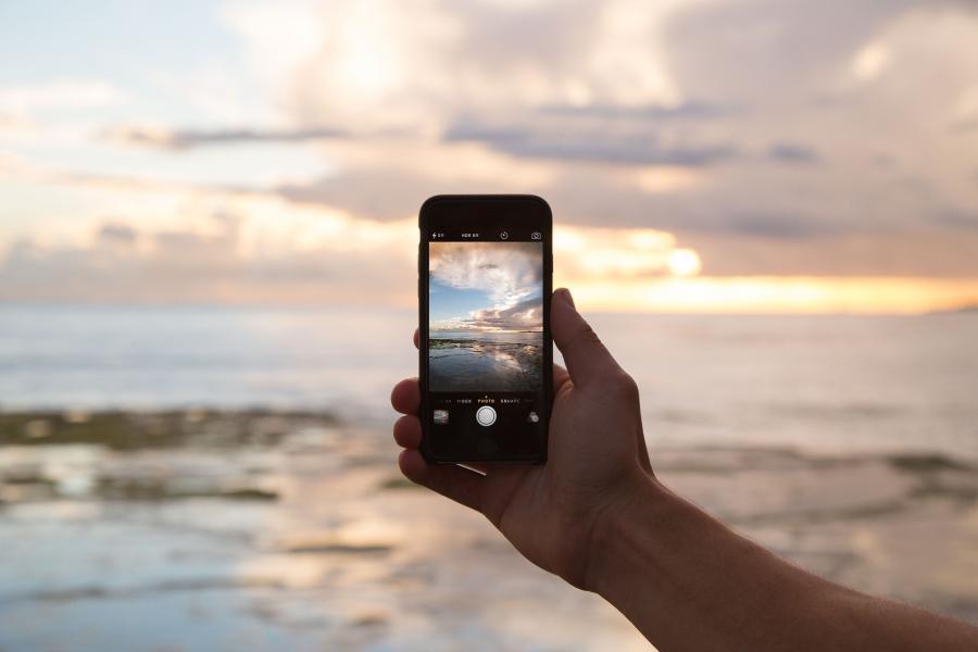 Telefoon, mobiel, strand